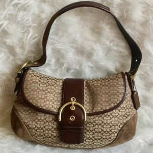 Coach Soho Flap suede and leather signature hobo